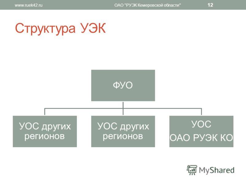 Структура УЭК ФУО УОС других регионов УОС ОАО РУЭК КО www.ruek42.ruОАО РУЭК Кемеровской области 12
