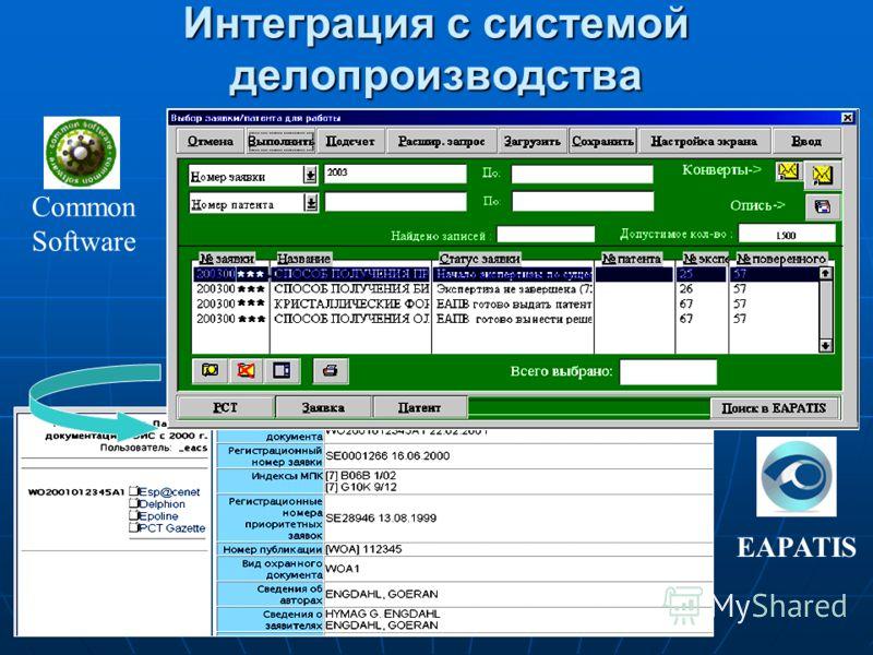 Интеграция с системой делопроизводства EAPATIS Common Software