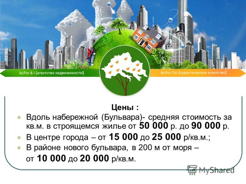 Цены : Вдоль набережной (Бульвара)- средняя стоимость за кв.м. в строящемся жилье от 50 000 р. до 90 000 р. В центре города – от 15 000 до 25 000 р/кв.м.; В районе нового бульвара, в 200 м от моря – от 10 000 до 20 000 р/кв.м.