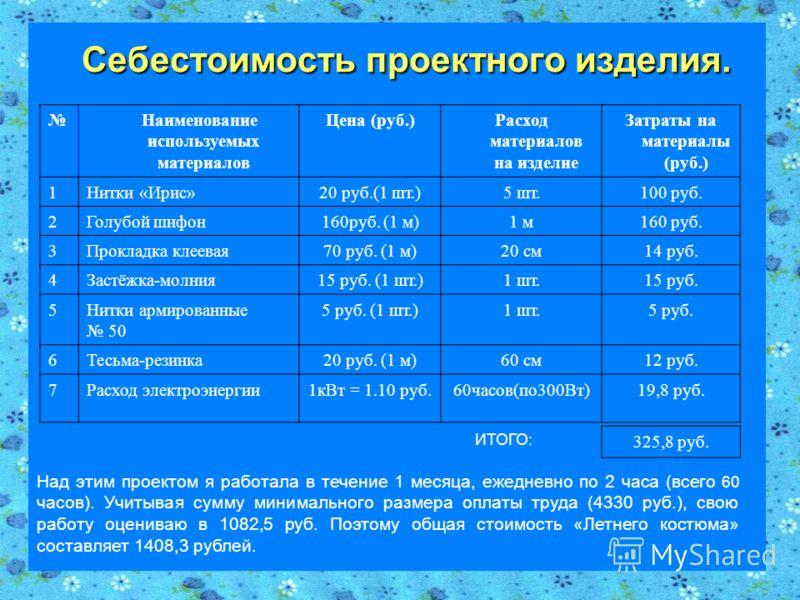 Себестоимость проектного изделия. Себестоимость проектного изделия. Наименование используемых материалов Цена (руб.)Расход материалов на изделие Затраты на материалы (руб.) 1Нитки «Ирис»20 руб.(1 шт.)5 шт.100 руб. 2Голубой шифон160руб. (1 м)1 м160 ру