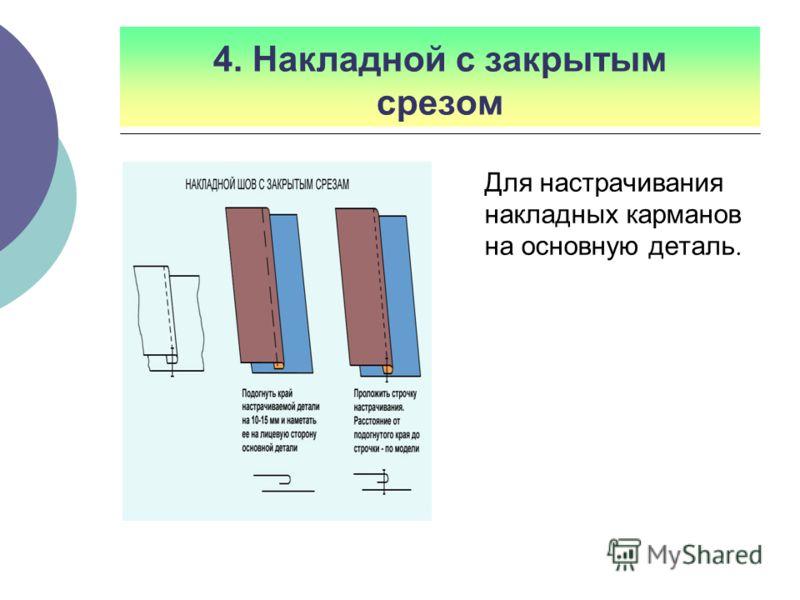4. Накладной с закрытым срезом Для настрачивания накладных карманов на основную деталь.