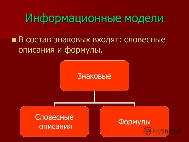 Информационные модели В состав знаковых входят: словесные описания и формулы. В состав знаковых входят: словесные описания и формулы. Знаковые Словесные описания Формулы