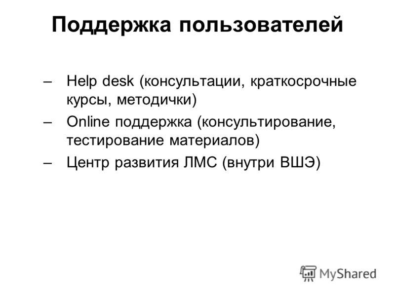 Поддержка пользователей –Help desk (консультации, краткосрочные курсы, методички) –Online поддержка (консультирование, тестирование материалов) –Центр развития ЛМС (внутри ВШЭ)