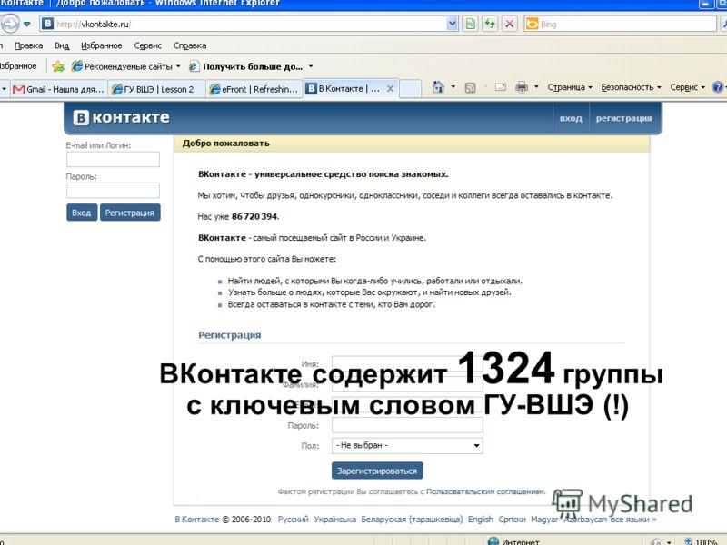 ВКонтакте содержит 1324 группы с ключевым словом ГУ-ВШЭ (!)