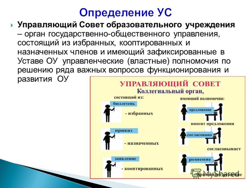 Управляющий Совет образовательного учреждения – орган государственно-общественного управления, состоящий из избранных, кооптированных и назначенных членов и имеющий зафиксированные в Уставе ОУ управленческие (властные) полномочия по решению ряда важн