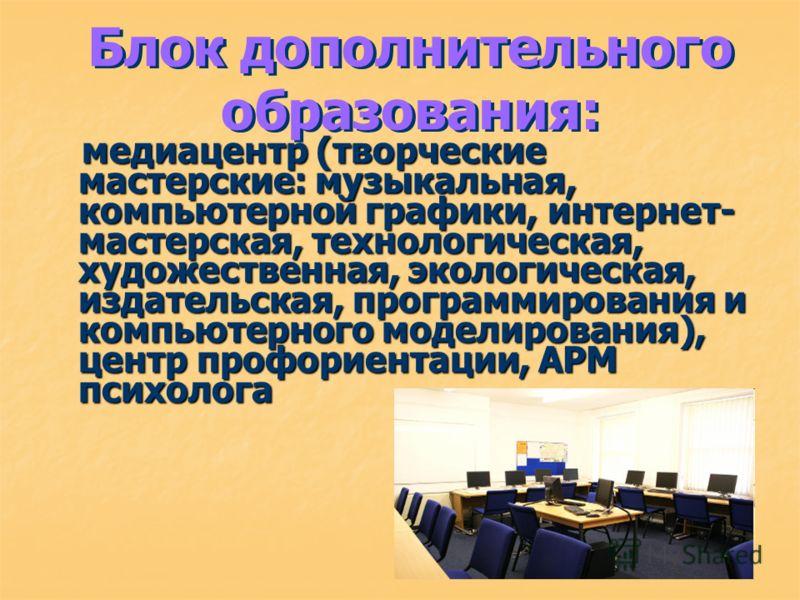 Блок дополнительного образования: медиацентр (творческие мастерские: музыкальная, компьютерной графики, интернет- мастерская, технологическая, художественная, экологическая, издательская, программирования и компьютерного моделирования), центр профори