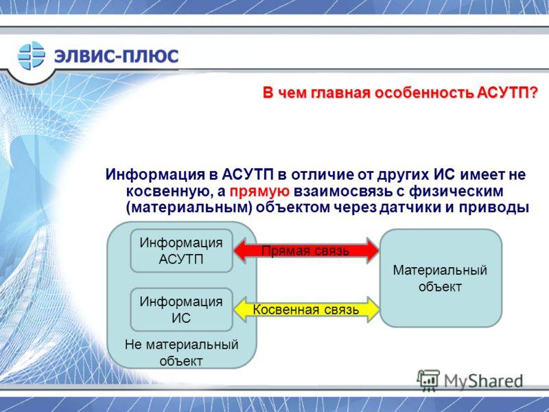 Не материальный объект В чем главная особенность АСУТП? Информация в АСУТП в отличие от других ИС имеет не косвенную, а прямую взаимосвязь с физическим (материальным) объектом через датчики и приводы Информация АСУТП Материальный объект Информация ИС