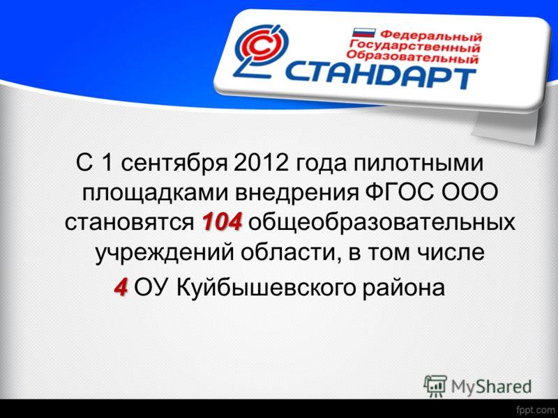 104 С 1 сентября 2012 года пилотными площадками внедрения ФГОС ООО становятся 104 общеобразовательных учреждений области, в том числе 4 4 ОУ Куйбышевского района
