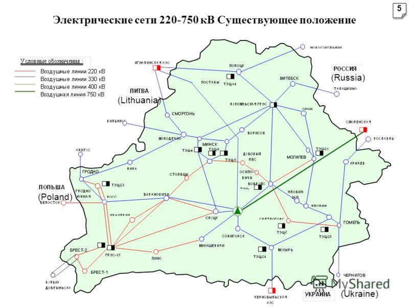 Электрические сети 220-750 кВ Существующее положение (Lithuania) (Russia) (Ukraine) (Poland) 5 5