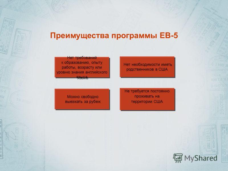 Преимущества программы EB-5 Нет требований к образованию, опыту работы, возрасту или уровню знания английского языка Нет требований к образованию, опыту работы, возрасту или уровню знания английского языка Нет необходимости иметь родственников в США