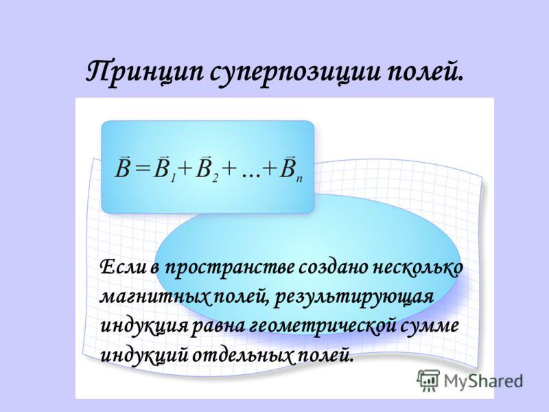 Принцип суперпозиции полей. Если в пространстве создано несколько магнитных полей, результирующая индукция равна геометрической сумме индукций отдельных полей.