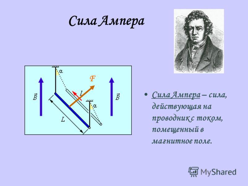 Сила Ампера – сила, действующая на проводник с током, помещенный в магнитное поле. F