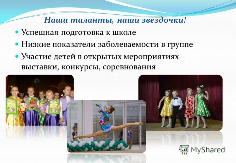 Наши таланты, наши звездочки! Успешная подготовка к школе Низкие показатели заболеваемости в группе Участие детей в открытых мероприятиях – выставки, конкурсы, соревнования