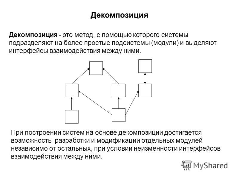Декомпозиция Декомпозиция - это метод, с помощью которого системы подразделяют на более простые подсистемы (модули) и выделяют интерфейсы взаимодействия между ними. При построении систем на основе декомпозиции достигается возможность разработки и мод