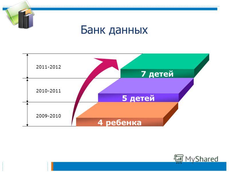 Банк данных 7 детей 5 детей 4 ребенка 2011-2012 2010-2011 2009-2010