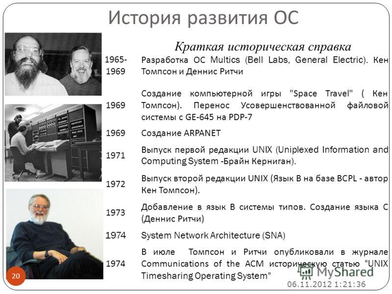 Краткая историческая справка 1965- 1969 Разработка ОС Multics (Bell Labs, General Electric). Кен Томпсон и Деннис Ритчи 1969 Создание компьютерной игры