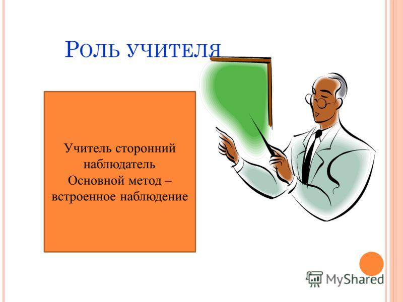 Учитель сторонний наблюдатель Основной метод – встроенное наблюдение