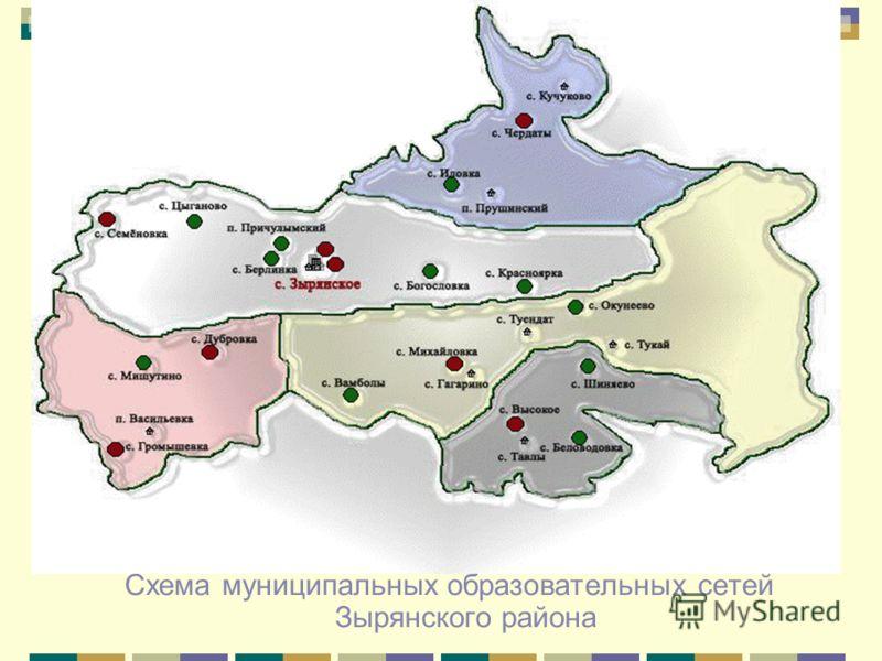 Схема муниципальных образовательных сетей Зырянского района