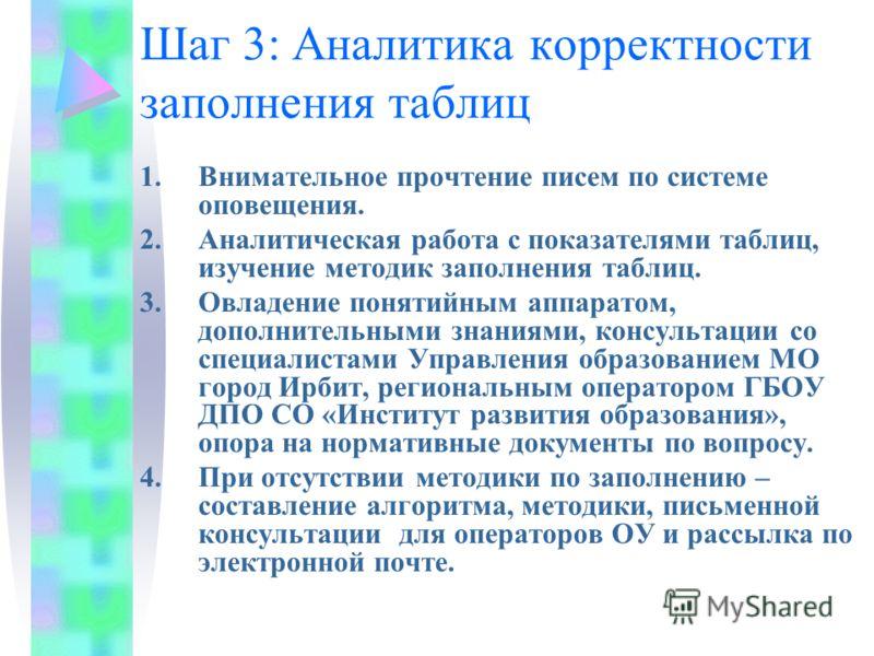 Шаг 3: Аналитика корректности заполнения таблиц 1.Внимательное прочтение писем по системе оповещения. 2.Аналитическая работа с показателями таблиц, изучение методик заполнения таблиц. 3.Овладение понятийным аппаратом, дополнительными знаниями, консул