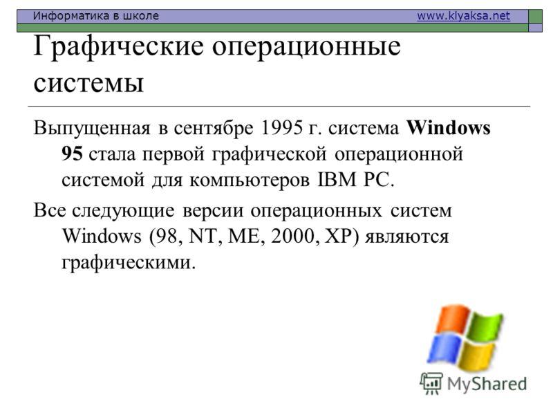 Информатика в школе www.klyaksa.netwww.klyaksa.net Графические операционные системы Выпущенная в сентябре 1995 г. система Windows 95 стала первой графической операционной системой для компьютеров IВМ РС. Все следующие версии операционных систем Windo