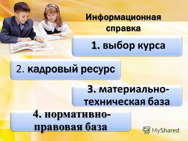 1. 1. выбор курса Информационная справка кадровый ресурс 2. кадровый ресурс 3. 3. материально- техническая база 4. нормативно- правовая база 4. нормативно- правовая база