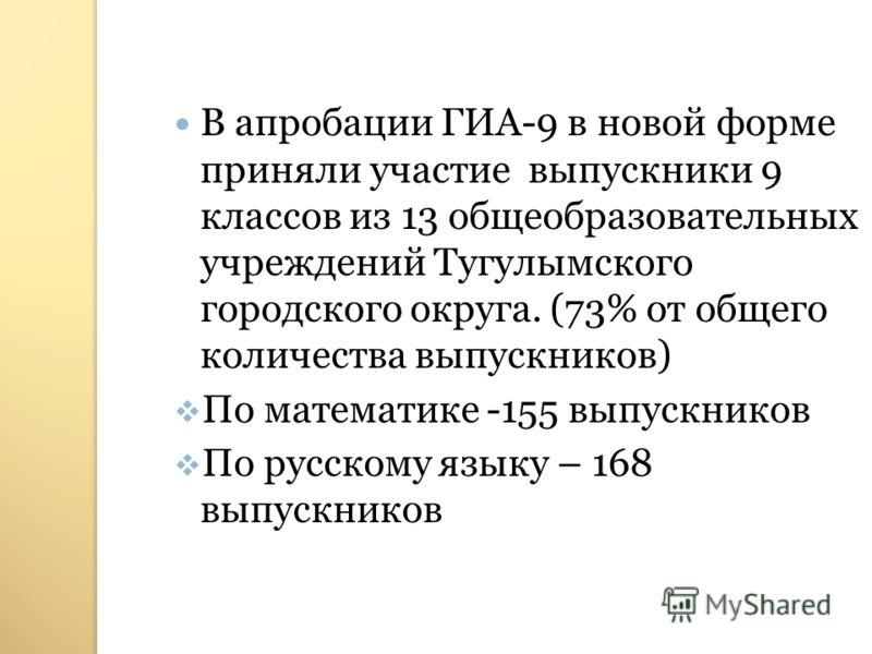 В апробации ГИА-9 в новой форме приняли участие выпускники 9 классов из 13 общеобразовательных учреждений Тугулымского городского округа. (73% от общего количества выпускников) По математике -155 выпускников По русскому языку – 168 выпускников