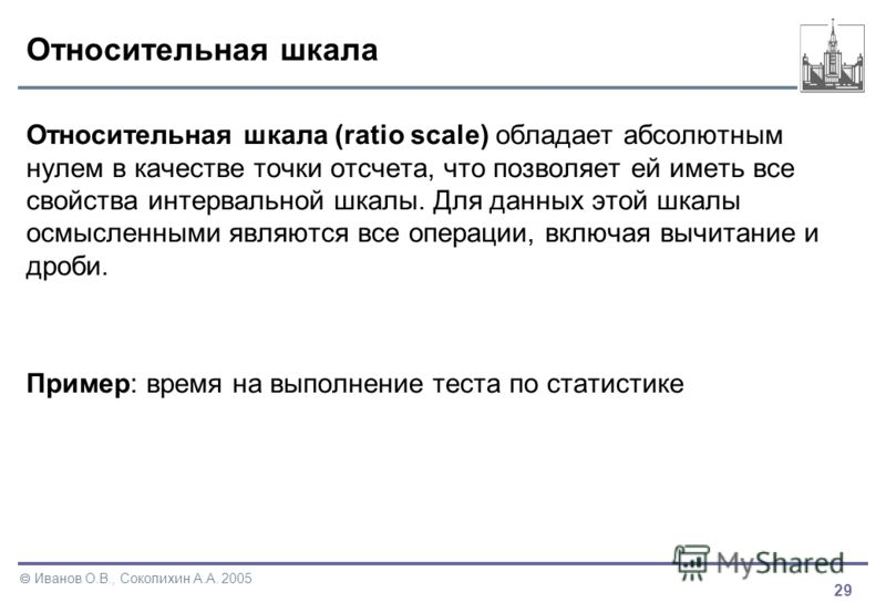 29 Иванов О.В., Соколихин А.А. 2005 Относительная шкала Относительная шкала (ratio scale) обладает абсолютным нулем в качестве точки отсчета, что позволяет ей иметь все свойства интервальной шкалы. Для данных этой шкалы осмысленными являются все опер