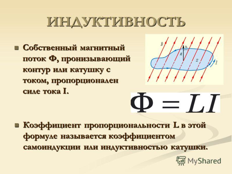 ИНДУКТИВНОСТЬ Собственный магнитный поток Φ, пронизывающий контур или катушку с током, пропорционален силе тока I. Собственный магнитный поток Φ, пронизывающий контур или катушку с током, пропорционален силе тока I. Коэффициент пропорциональности L в
