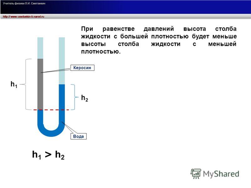 При равенстве давлений высота столба жидкости с большей плотностью будет меньше высоты столба жидкости с меньшей плотностью. h 1 > h 2 h1h1 h2h2 Вода Керосин