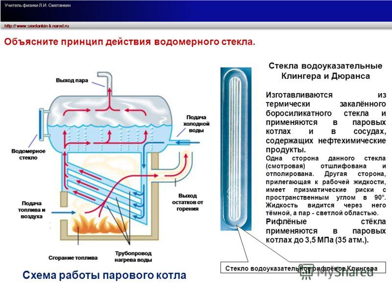 Стекла водоуказательные Клингера и Дюранса Изготавливаются из термически закалённого боросиликатного стекла и применяются в паровых котлах и в сосудах, содержащих нефтехимические продукты. Одна сторона данного стекла (смотровая) отшлифована и отполир
