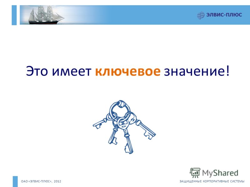 ОАО «ЭЛВИС-ПЛЮС», 2012 ЗАЩИЩЕННЫЕ КОРПОРАТИВНЫЕ СИСТЕМЫ Это имеет ключевое значение!