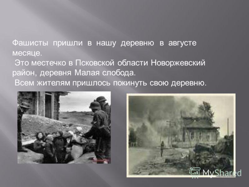 Фашисты пришли в нашу деревню в августе месяце. Это местечко в Псковской области Новоржевский район, деревня Малая слобода. Всем жителям пришлось покинуть свою деревню.