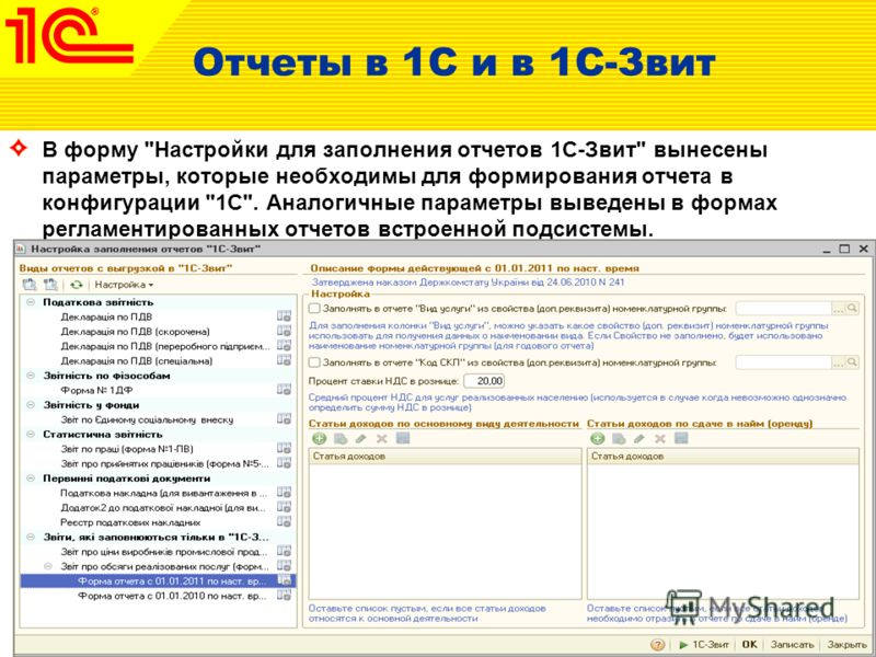 Отчеты в 1С и в 1С-Звит В форму Настройки для заполнения отчетов 1С-Звит вынесены параметры, которые необходимы для формирования отчета в конфигурации 1С. Аналогичные параметры выведены в формах регламентированных отчетов встроенной подсистемы.