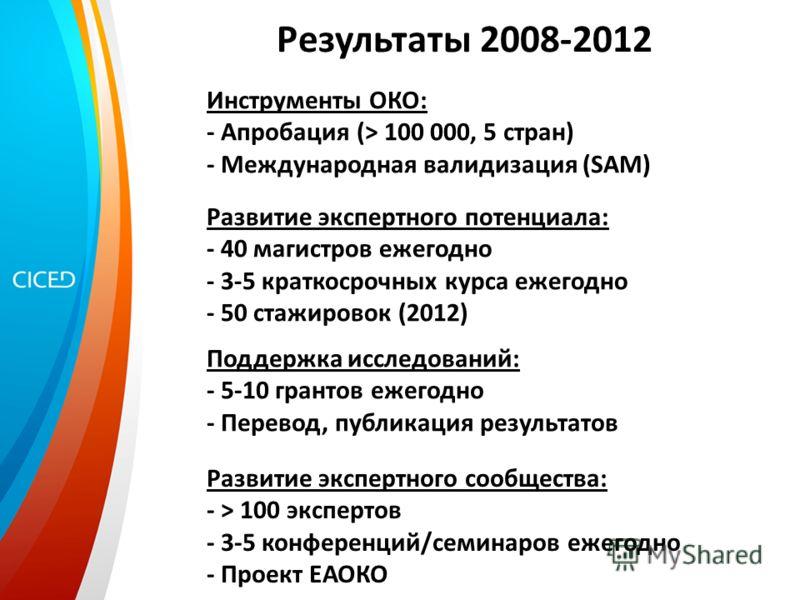 Результаты 2008-2012 Инструменты ОКО: - Апробация (> 100 000, 5 стран) - Международная валидизация (SAM) Развитие экспертного потенциала: - 40 магистров ежегодно - 3-5 краткосрочных курса ежегодно - 50 стажировок (2012) Развитие экспертного сообществ