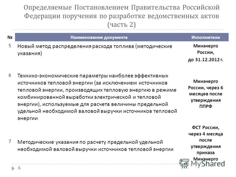 6 Наименование документаИсполнители 5 Новый метод распределения расхода топлива (методические указания) Минэнерго России, до 31.12.2012 г. 6 Технико-экономические параметры наиболее эффективных источников тепловой энергии (за исключением источников т