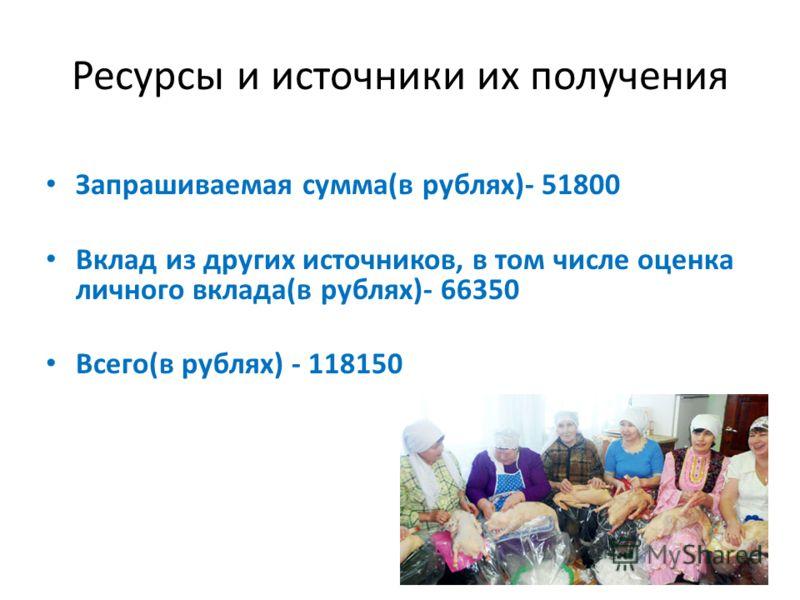 Ресурсы и источники их получения Запрашиваемая сумма(в рублях)- 51800 Вклад из других источников, в том числе оценка личного вклада(в рублях)- 66350 Всего(в рублях) - 118150