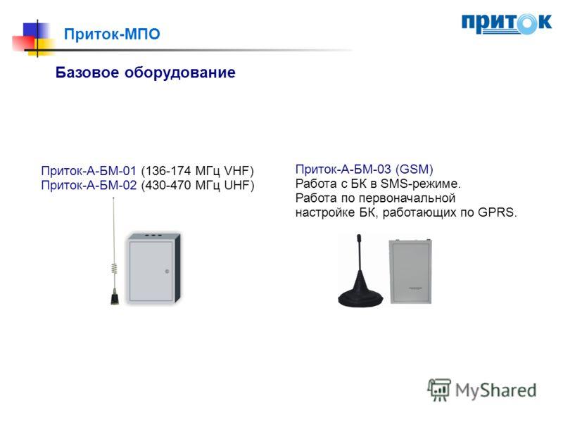 Приток-МПО Базовое оборудование Приток-А-БМ-01 (136-174 МГц VHF) Приток-А-БМ-02 (430-470 МГц UHF) Приток-А-БМ-03 (GSM) Работа с БК в SMS-режиме. Работа по первоначальной настройке БК, работающих по GPRS.