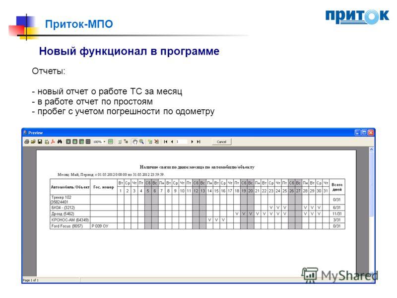 Приток-МПО Новый функционал в программе Отчеты: - новый отчет о работе ТС за месяц - в работе отчет по простоям - пробег с учетом погрешности по одометру