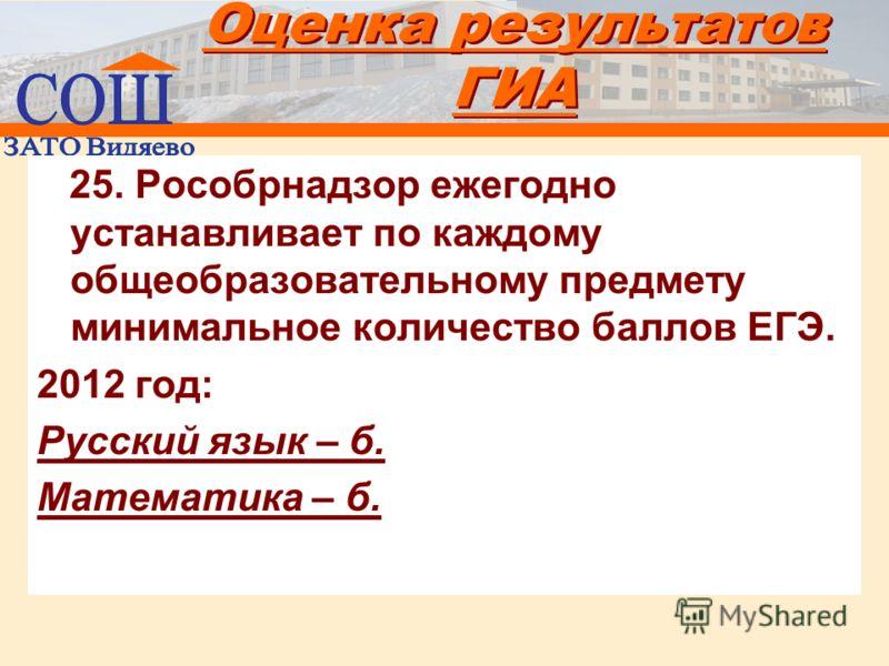 Оценка результатов ГИА 25. Рособрнадзор ежегодно устанавливает по каждому общеобразовательному предмету минимальное количество баллов ЕГЭ. 2012 год: Русский язык – б. Математика – б.