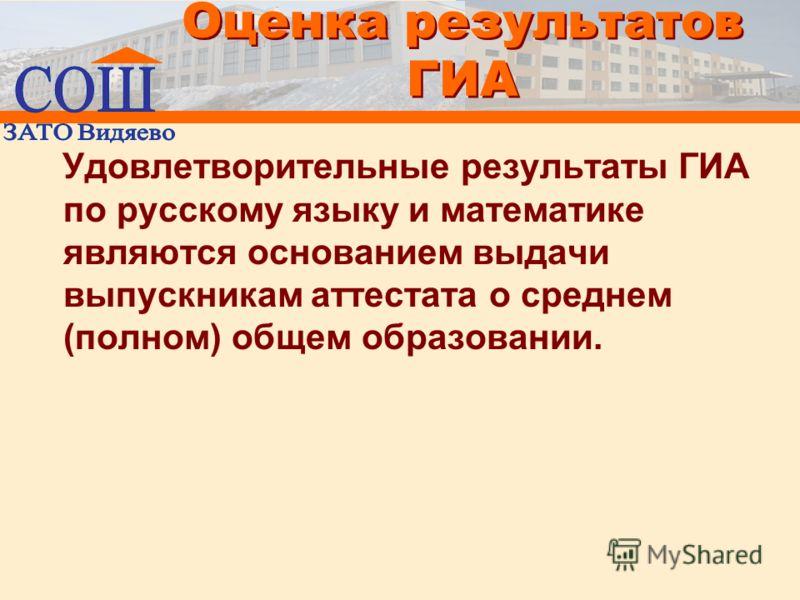 Оценка результатов ГИА Удовлетворительные результаты ГИА по русскому языку и математике являются основанием выдачи выпускникам аттестата о среднем (полном) общем образовании.