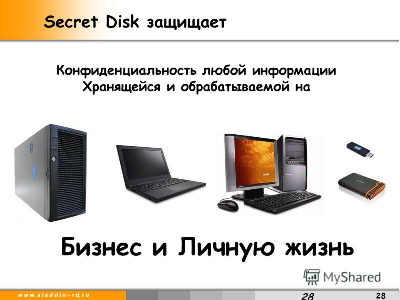 w w w. a l a d d i n – r d. r u 28 Secret Disk защищает 28 Бизнес и Личную жизнь Конфиденциальность любой информации Хранящейся и обрабатываемой на
