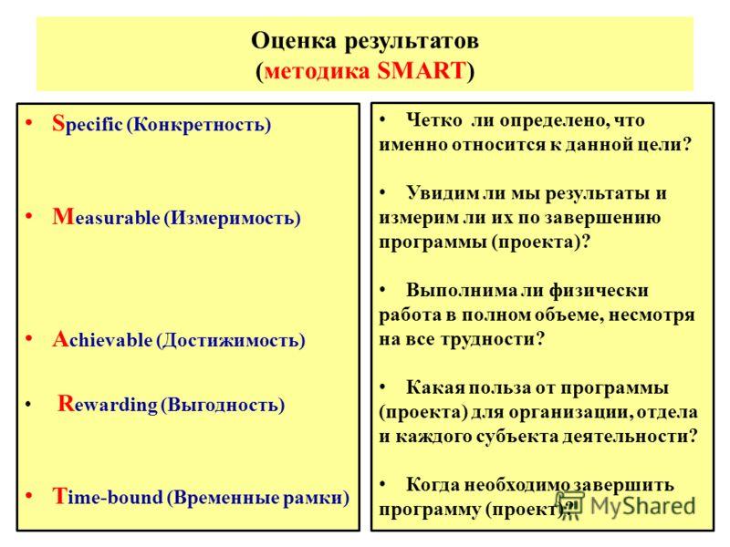 Оценка результатов (методика SMART) S pecific (Конкретность) M easurable (Измеримость) A chievable (Достижимость) R ewarding (Выгодность) T ime-bound (Временные рамки) Четко ли определено, что именно относится к данной цели? Увидим ли мы результаты и