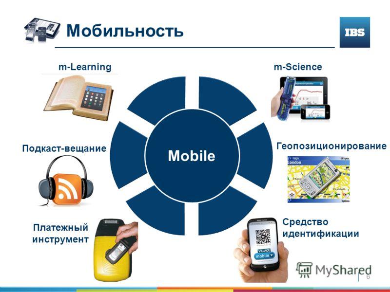 6 Средство идентификации Мобильность Mobile m-Learning m-Science Подкаст-вещание Геопозиционирование Платежный инструмент