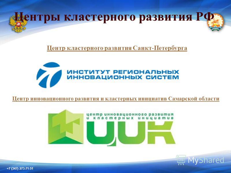 +7 (347) 273-71-51 Центры кластерного развития РФ Центр кластерного развития Санкт-Петербурга Центр инновационного развития и кластерных инициатив Самарской области