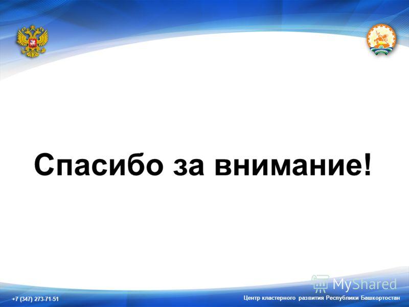 +7 (347) 273-71-51 Центр кластерного развития Республики Башкортостан Спасибо за внимание!