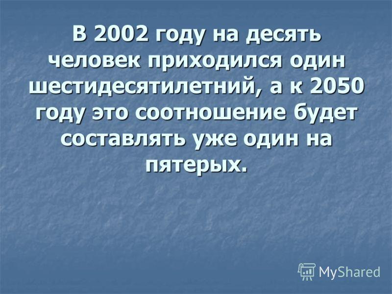 В 2002 году на десять человек приходился один шестидесятилетний, а к 2050 году это соотношение будет составлять уже один на пятерых.