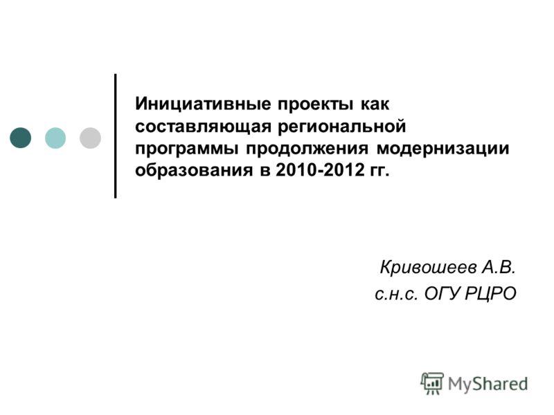 Инициативные проекты как составляющая региональной программы продолжения модернизации образования в 2010-2012 гг. Кривошеев А.В. с.н.с. ОГУ РЦРО