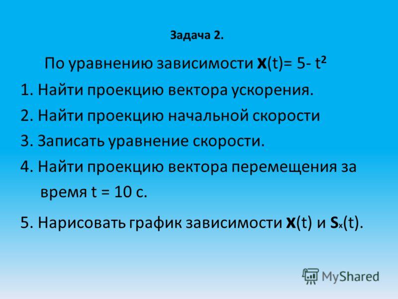 Задача 2. По уравнению зависимости x (t)= 5- t 2 1. Найти проекцию вектора ускорения. 2. Найти проекцию начальной скорости 3. Записать уравнение скорости. 4. Найти проекцию вектора перемещения за время t = 10 c. 5. Нарисовать график зависимости x (t)