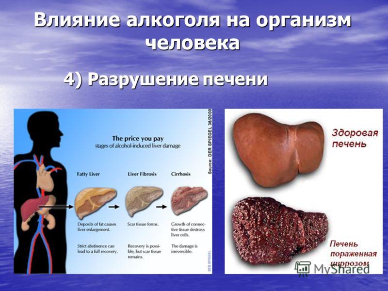 4) Разрушение печени