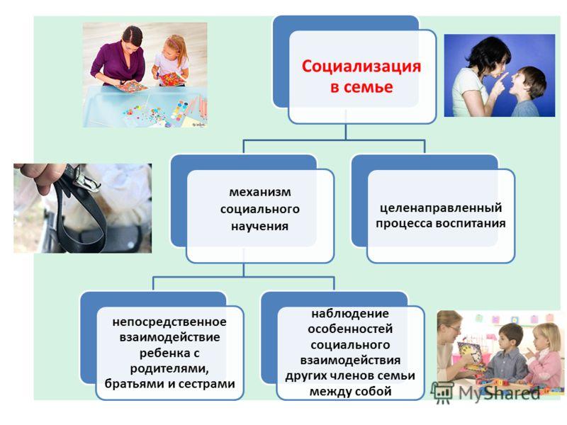 Социализаци я в семье механизм социального научения непосредственное взаимодействие ребенка с родителями, братьями и сестрами наблюдение особенностей социального взаимодействия других членов семьи между собой целенаправленный процесса воспитания